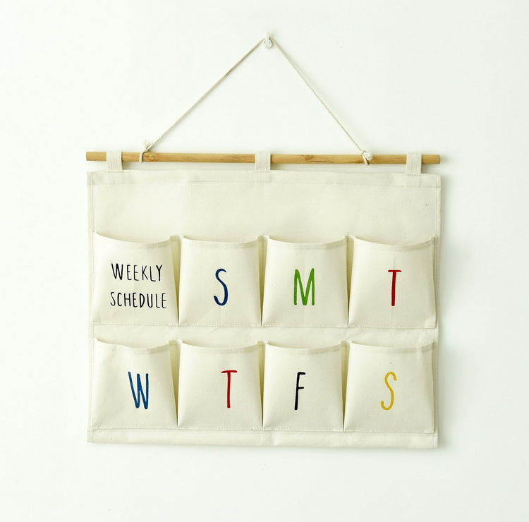 weely schedule storage holder 8pockets letter holder wall hanger storage pocketchina