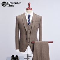 Vintage Mens Khaki Wool Tweed Suit S-4XL Fashion Men Gray Business Dress Suit 3 Pieces Mens Slim Wedding Suits with Pants DT303
