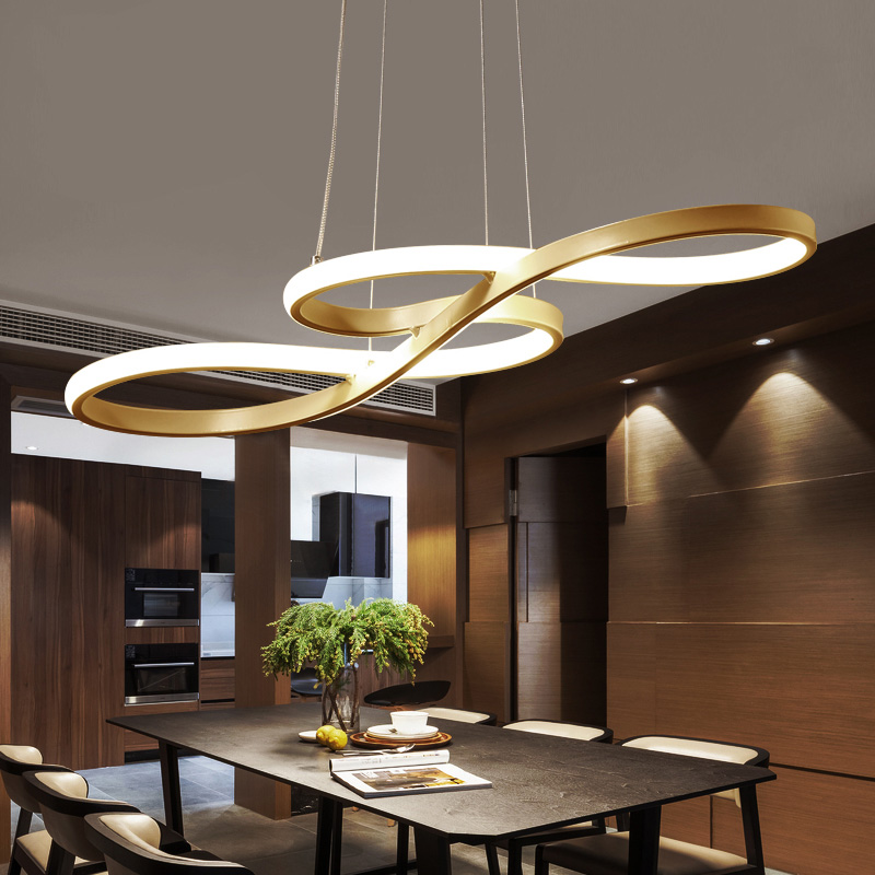 Length 1250/750mm Modern Led Hanging Chandelier For Dining Kitchen Room Bar Suspension luminaire Pendant Chandeliers AC85-265