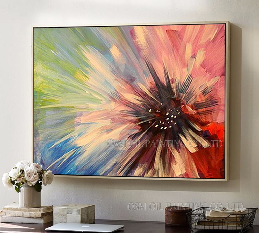 Professional Artist Handmade High Quality Colorful Abstract Flower Oil Painting on Canvas Unframed Floral