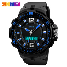 Skmei Dual Display Sport Digital Watch Men 3 Time Big Dial Chronograph LED Electronic Wristwatch Waterproof Relogio Masculino skmei skmei big dial dual time display sport digital watch men chronograph analog led electronic wristwatch s shock clock