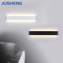 JUSHENG Indoor LED Wall Lamp Modern Aluminum Black White Decoration Sconces Lighting Fixtures in Bedroom 9-44 inch 220V AC