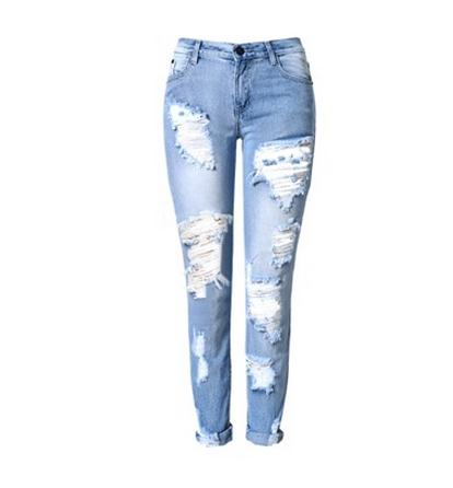 Female Summer Spring Ripped Jeans Middle Waist Full Length Denim Pants Casual Women Hole Jeans Cowboy