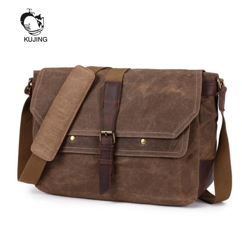 KUJING Brand Men Bag High-quality Canvas Shoulder Messenger Bag Hot College Students Computer Bag Luxury Travel Leisure Men Bag цена 2017