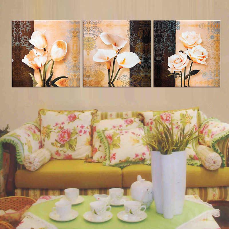 3 Piece Gambar Bunga Lukisan Minyak Di Dinding Kanvas Gambar Bingkai Lukisan Murah Modern Art Hd Cetak Cuadros Decoracion