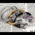 Heavy Punk Jewelry 316L Stainless Steel Tiger End Twist Cuff Bangle Silver / Silver&Gold / Silver&Black Cool Men's Jewelry