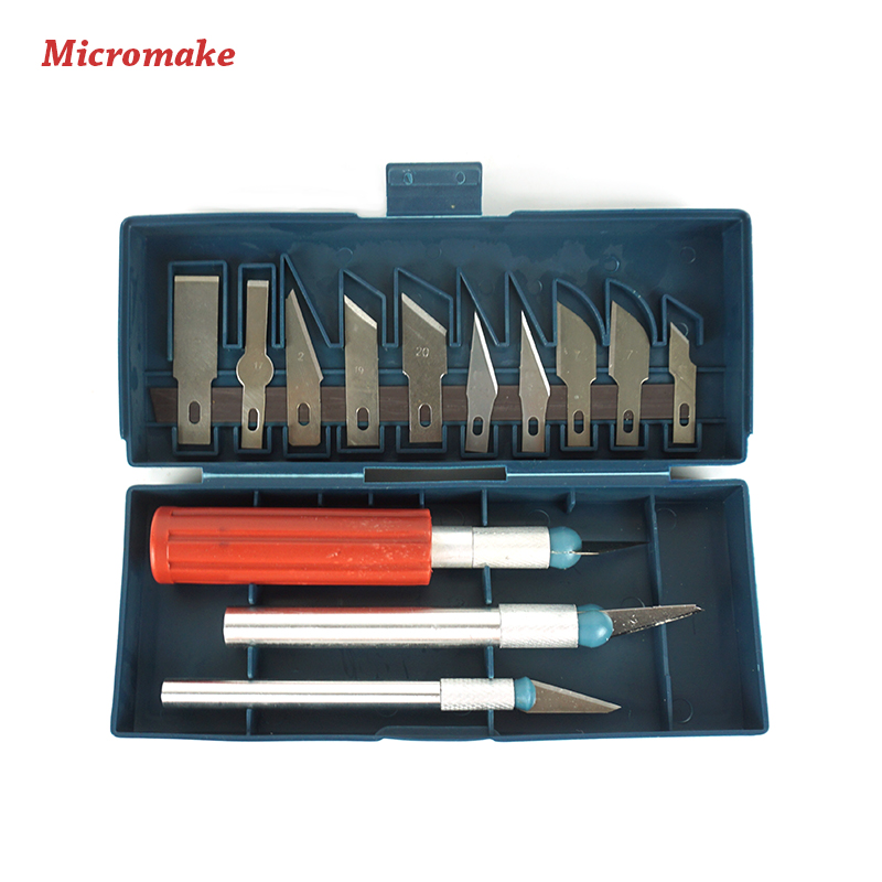 Micromake 1 Set 3D Printer Tool Kit ABS and PLA Wood Filament Carving Knife Graver Harden