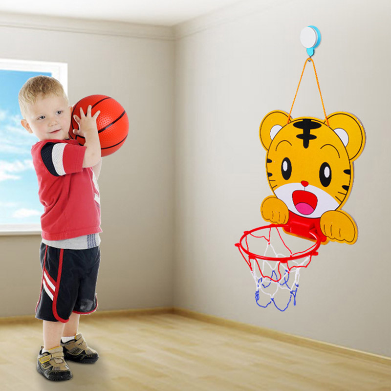 Cute Cartoon Portable Plastic Basketball Hoop Kids Toys Set Children Indoor Sports Hanging Basketball Hoop with