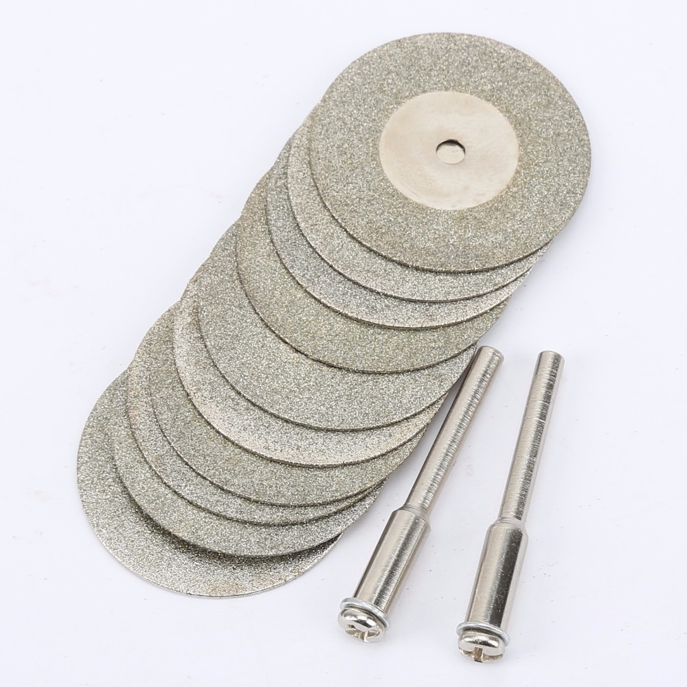 10pcs 30mm Diamond Cutting Discs Cut Off Blade Drill Bit for Dremel Rotary Tool Abrasive Disc dremel accessories disco de corte hilda 10pcs set 30mm mini diamond saw blade silver cutting discs with 2x connecting shank for dremel drill fit rotary tool