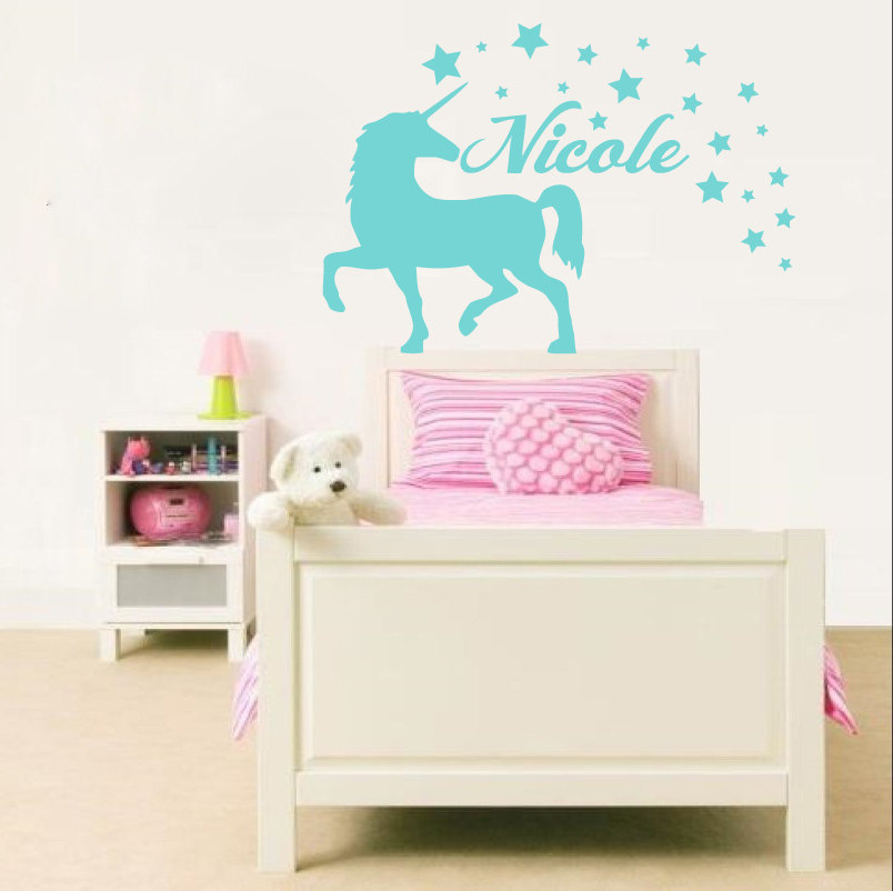 Unicorn animal wall decal personalized name vinyl wall for Wall stickers for kids room