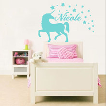 Unicorn Animal Wall Decal Personalized Name Vinyl Stickers For Kids Rooms Nursery Stars Pattern Bedroom DecorSY59