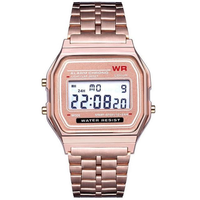 LED digital Waterproof watch women men Unisex Golden luxury brand stainless steel watches sport Wrist Watch quartz wristwatches