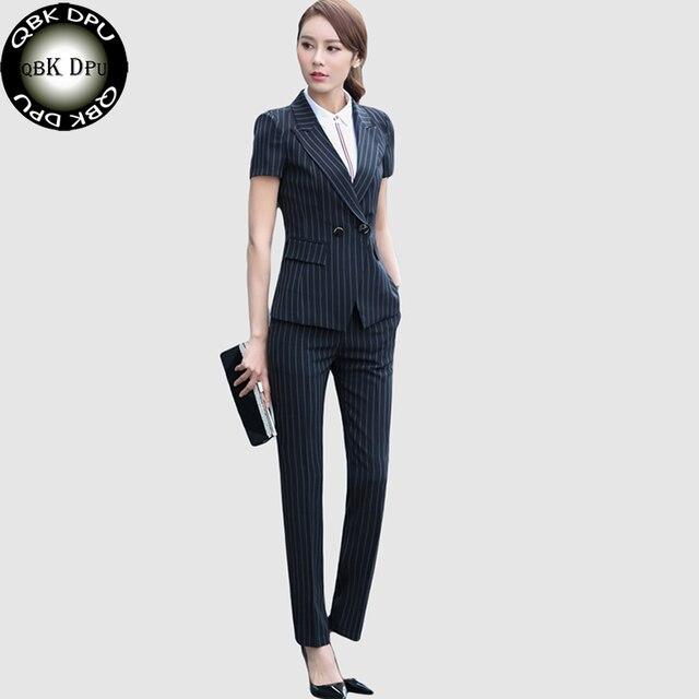 fbeecb6f139d QBK DPU marchi di abbigliamento di affari OL ufficio a righe blazer donne  vestiti 2017 Doppio