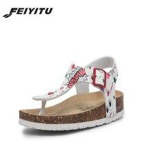FeiYiTu Newest  Fashion Cork Sandals 2018 New Women Summer Buckle Strap Solid Beach Slipper Flip Flops Shoe Flat