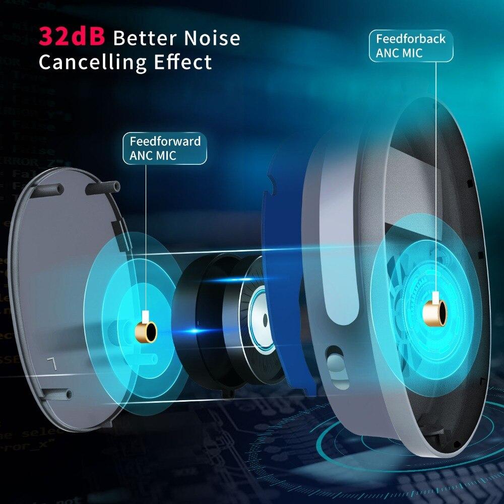 Casque antibruit actif écouteurs Bluetooth sans fil avec boîtier sur l'oreille casque avec Microphone pour téléphones portables - 5
