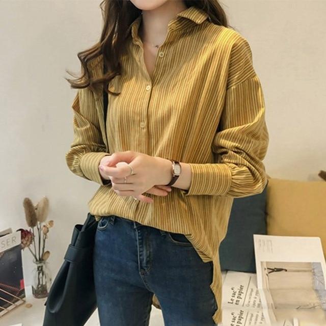 7286c98cfe4 Mujer rayas blusas Turn-down Collar blusa camisetas de moda de manga larga  Casual de