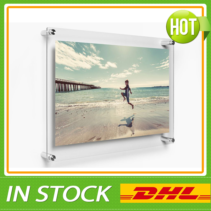 free shipping wholesale a4 wall mounted acrylic poster frames a5 acrylic floating plexiglass photo wall