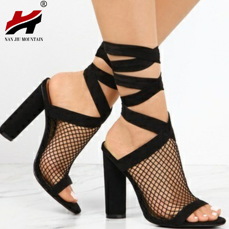 2018 Spring And Summer Sexy Bandage High Heel Thick With Women's Sandals