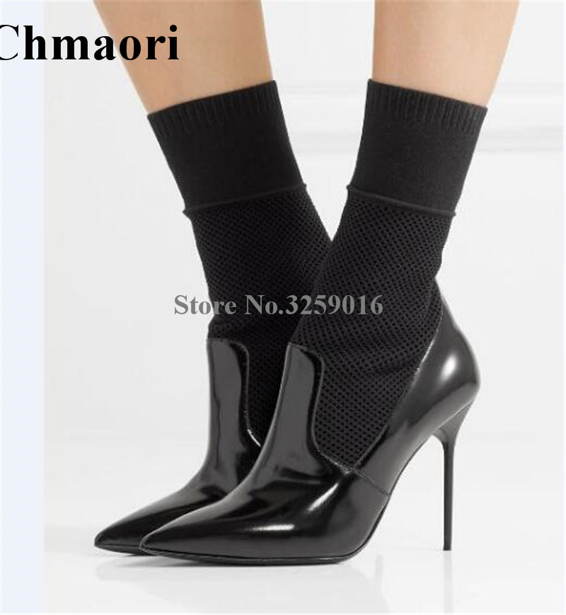 Women Black Leather Knitted Top High Heel Ankle Boots Slip-on Bandage Thin Heel Short Boots Elegant Boots Formal Dress Shoes universe pearl decorated elegant women ankle boots black suede leather chunky heel dress boots g404