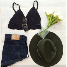 crop top crochet white and black STRAP crochet bikini top vest lingerie see through natural sexy beach wear free ship
