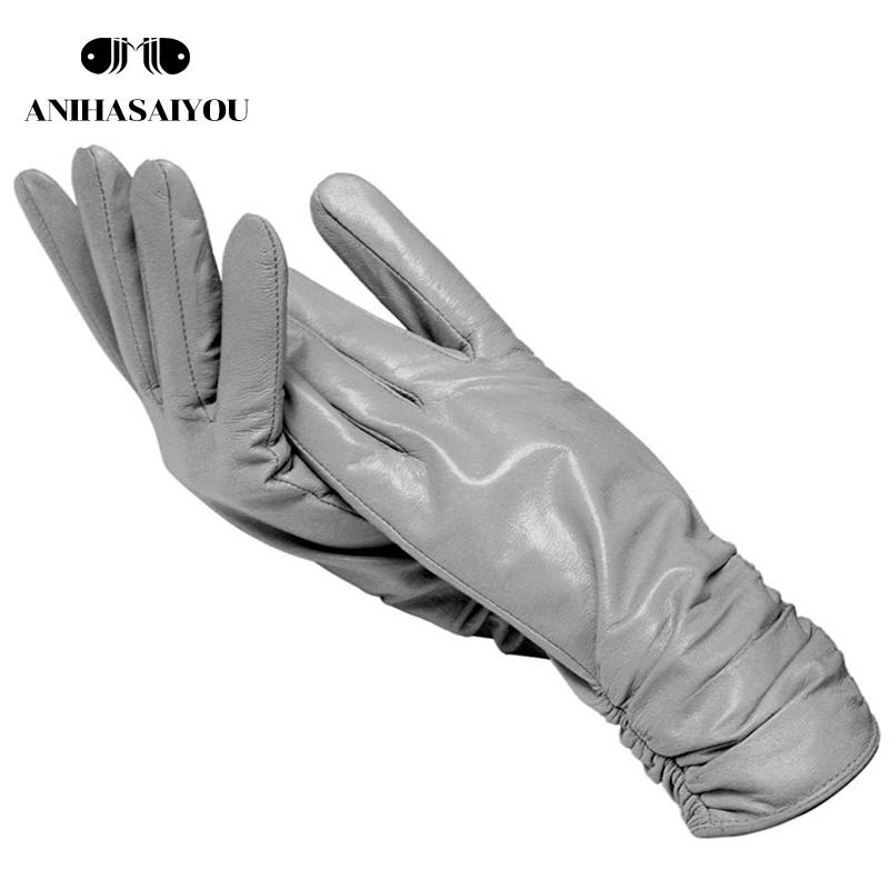 Light Gray Women Leather Gloves, Sheepskin Gloves Female,best-selling Women's Winter Mittens,Genuine Leather Gloves Women-2081