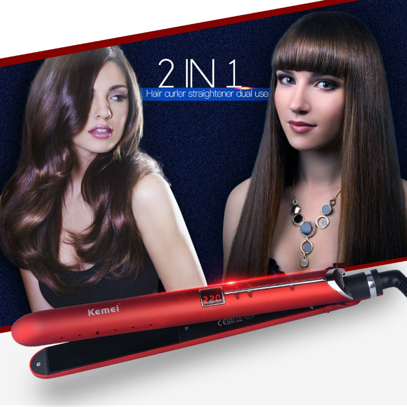 Kemei 2 in1 Style Hair Straightener Steam Flat Iron Vapor Hair Curler Ceramic LED Digital Spray Straightening Electric Curler 35 kemei flat iron hair straightener ceramic led digital touch screen hair curler curling iron professional straightener irons1718