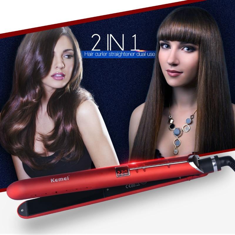 Kemei Flat Iron Ceramic Hair Straightener LED Display Straightening Hair iron planchas de pelo Professional chapinha Curler