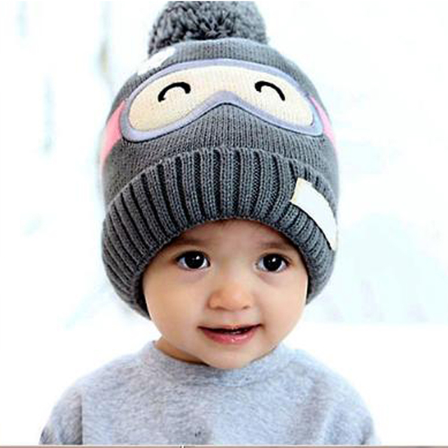 af121ab27ad5e 2017 Fashion Winter Hats for Girls Boys Beanie Kids Children Baby Cap Ball  Knit Sweater Hats