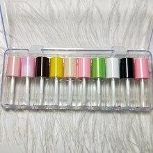 3ML Mini pusty błyszczyk z kolorową czapką, mała kosmetyczna szminka butelka próbka, plastikowy przenośny kosmetyczny pojemnik na olej do ust