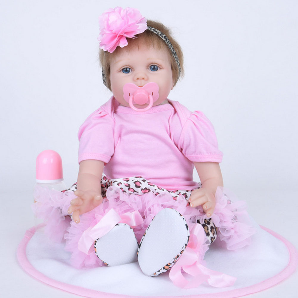 22 inches Lovely Soft Silicone Reborn Doll Princess Newborn Baby Girl with Cloth Body Toy for Kids Birthday Christmas Gift 22 inches realistic reborn girl doll soft silicone lovely princess newborn baby with cloth body toy for kids birthday xmas gift