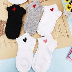 1 пара милых женских носков красного цвета с сердечками в духе колледжа; простые базовые теплые удобные хлопковые носки; сезон весна-лето; Бе...