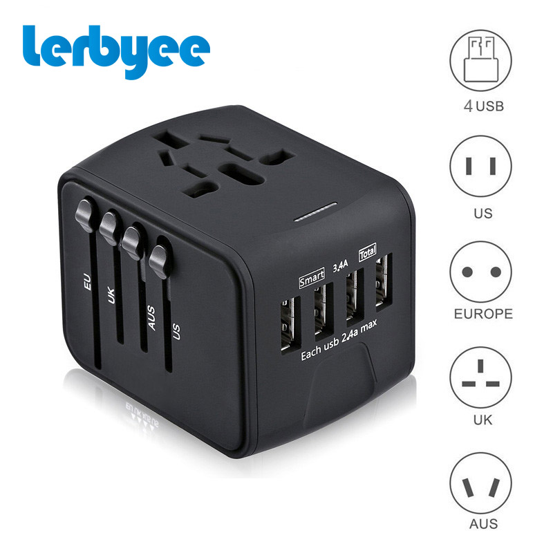 цена на Travel Adapter International Universal Power Adapter All-in-one with 4 USB Worldwide Wall Power Plug Charger for UK/EU/AUS/US