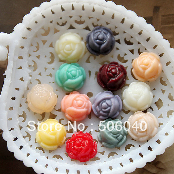 10mm resin cabochon bead flower rose jewelry/mobilephone decoration DIY Handmade Accessory wholesale 100pcs/lot