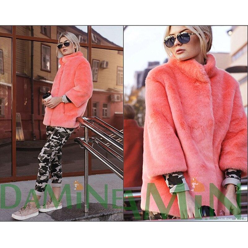FURSARCAR Luxurious Pink Color Mink Fur Coat Stand Collar Real Natural Fur Women Warm Winter Mink Plus Size Pockets Solid