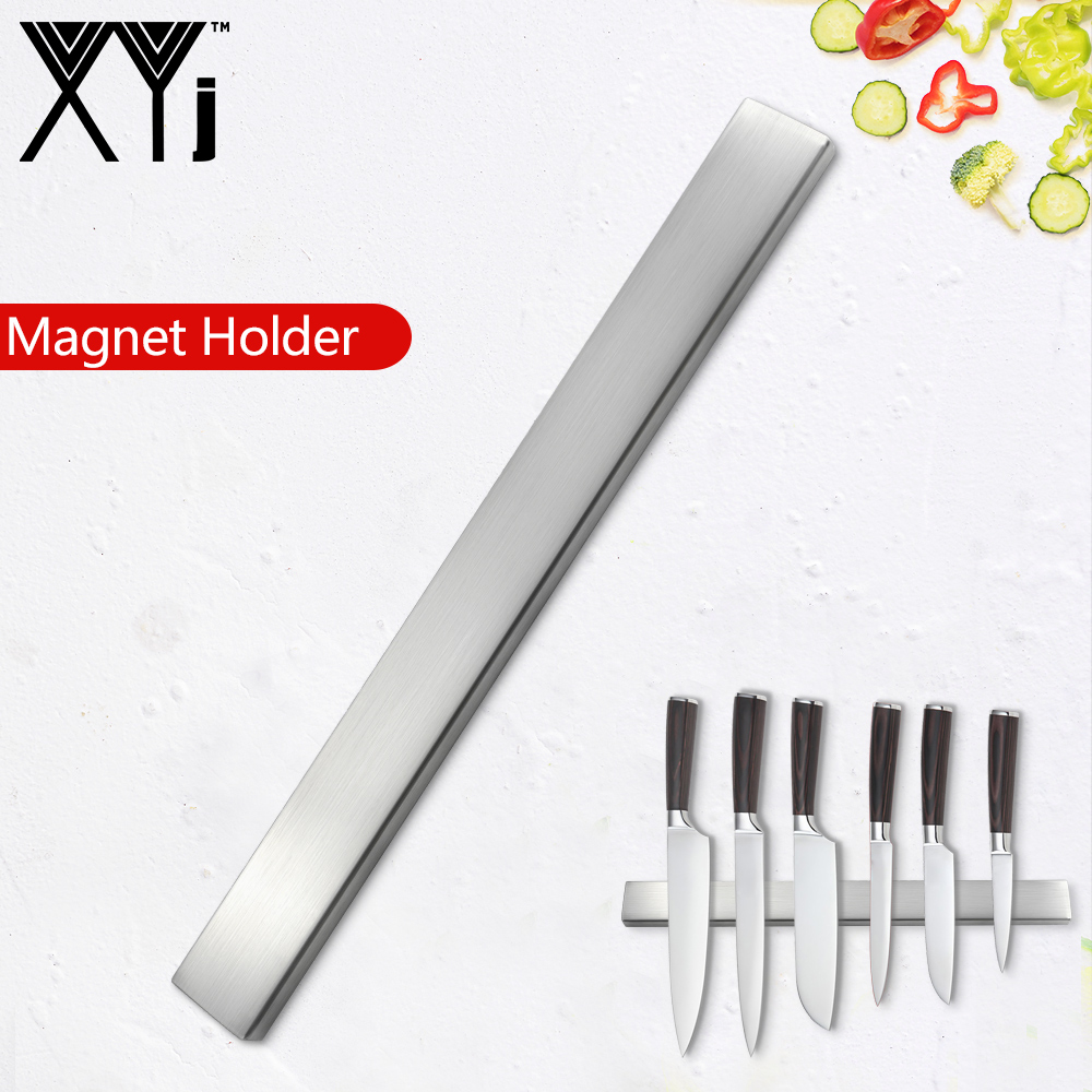 XYj Magnetic Self-adhesive 45CM Length Knifes Holder Stainless Steel Block Strong Magnet Knife Stand For Kitchen Knives