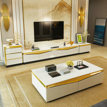 tea table black/white Living Room TV monitor stand mueble stalinite gold stainless steel cabinet +tv table+Coffee centro Table stainless steel tea table tempered glass tea table 1