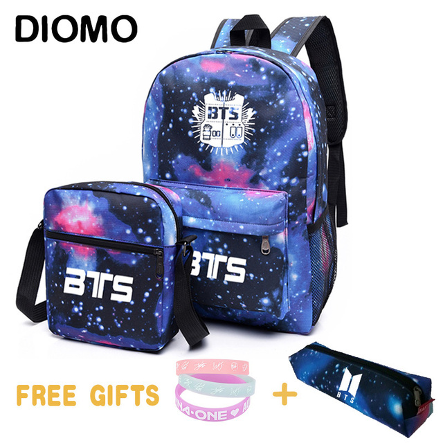 2b7960ef00e8 US $20.63 38% OFF|DIOMO Kopo Bts Bt21 Bangtan Boys school bags set for girl  boy teenager backpack kids child children Starry sky crossbody bag-in ...
