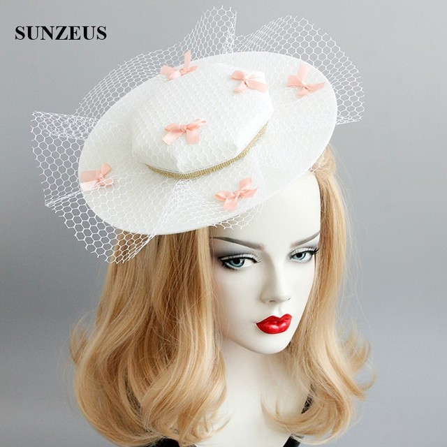 European Court Nobles Horse Club Party Hat 2018 Latest Fashion Ivory  Wedding Hats With Pink Bows Bridal Headwear FJ-184 2517656d762