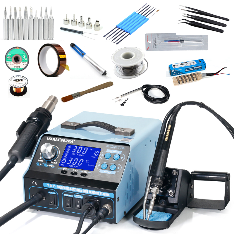 YIHUA 992DA 4 In 1 LCD Digital Hot Air Gun Soldering Station Vacuum Pen Smoking Electric