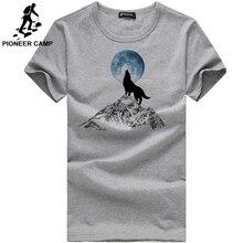 Пионерский лагерь, модная повседневная мужская футболка с принтом волка, Забавные футболки для мальчиков, хлопок, мужская одежда 305062