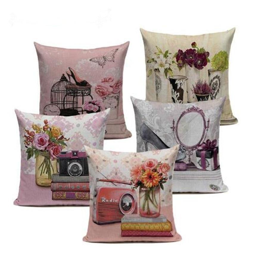 Vintage Flowers Cushions Cover Peach Blossom Home Decor Linen Cotton Pillow Cover Decorative Pink Blue Throw Pillows Pillowcase