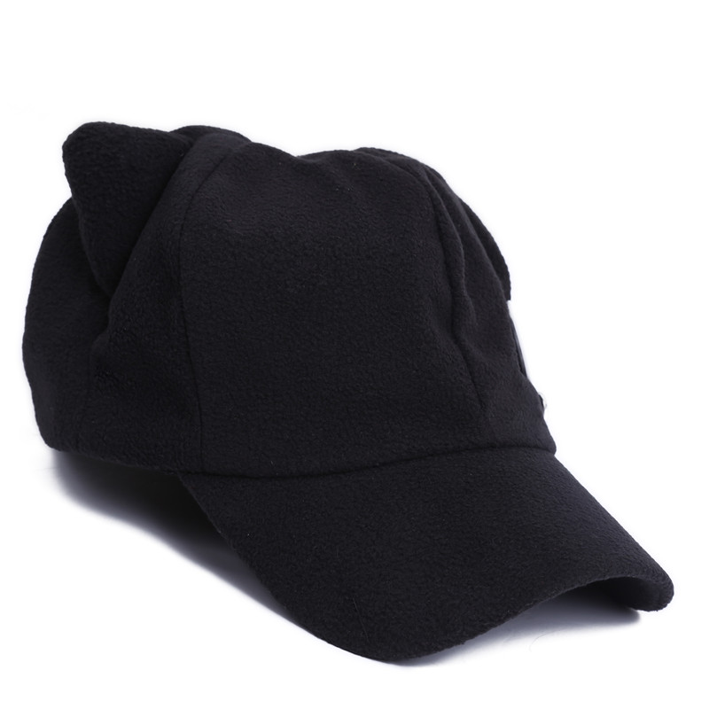 Men Women Unisex Cartoon Anime Cosplay Hats Cute Cat Ears Baseball Hats Caps  with Badges Solid Black Casual Style HO985098-in Baseball Caps from Apparel  ... 038d95f2af33