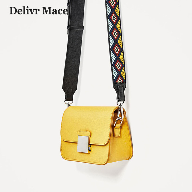 37bc246b9d4 US $26.89 48% OFF|Colorful Strap Fashion Yellow Leather Shoulder Strap Bag  Women Women's Crossbody Bags Ladies Messenger Bag Female Cell Phone Bag-in  ...