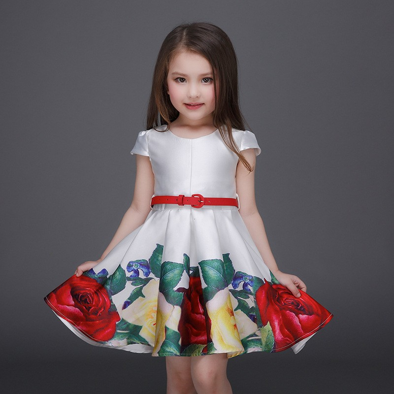 Retail Pretty High Quality Flower Girl Dress For Kid Girl Party Dress With Red Belt Children Birthday Party Dresses L-93