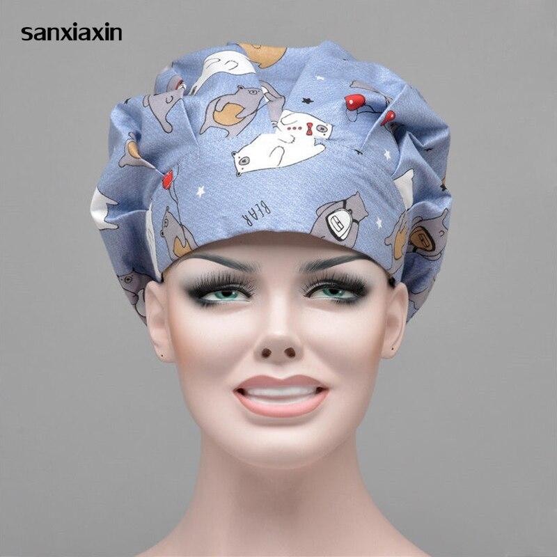 Hospital Pet Clinic Beauty Salon Doctor Man Woman Surgical Cap Scrub Cap Absorb Sweat Adjustable Long Hair Nurse Scrub Hats New