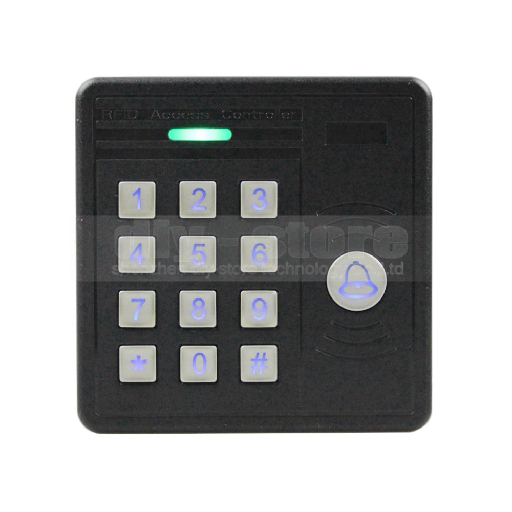 DIYSECUR Waterproof 125KHz RFID ID Card Reader Password Keypad Door Access Control Kit + 10 Free Key Chain KS159 diysecur lcd 125khz rfid keypad password id card reader door access controller 10 free id key tag b100