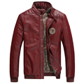 2016 Plus Size 3XL Leather Jacket Men Stand Collar Solid PU Leather Men Jacket Coat Slim Fit Black Blue Wine Brown
