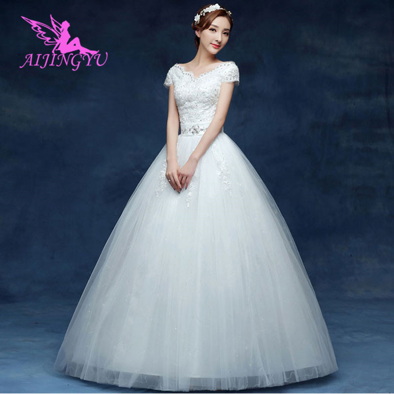 AIJINGYU 2018 elegant free shipping new hot selling cheap ball gown lace up back formal bride dresses wedding dress WK551