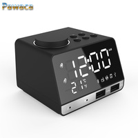 Multifunction Bluetooth Speaker Electronic Alarm Clock LED Mute Lights Tighten with Thermometer Music radio,Backlight Desk Clock