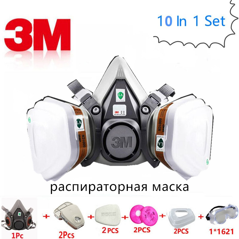 10 In 1 <font><b>3M</b></font> 6200 Gas Mask Respirator <font><b>6001</b></font> Carbon Filter <font><b>Cartridge</b></font> Protection Spray Respirator Safety Dust Mask Chemical Industry image